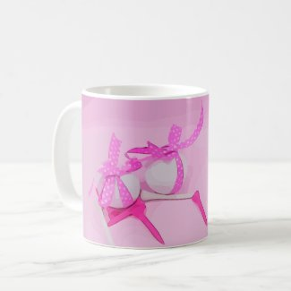 Golf ball with pink ribbon and tee on green lady coffee mug