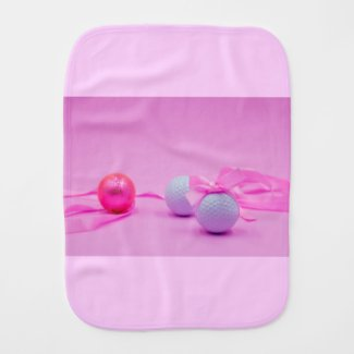 Golf ball with pink ribbon for baby girl golfer baby burp cloth