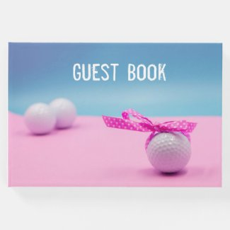 Golf ball with pink ribbon for golfer girl woman guest book