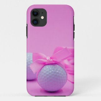 Golf ball with pink ribbon for women golfer Case-Mate iPhone case