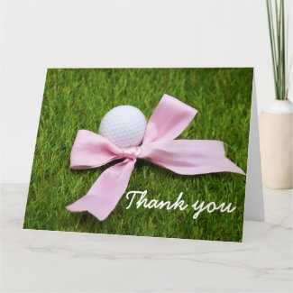 Golf ball with pink ribbon on green grass Thank u Thank You Card