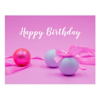 Golf ball with pink ribbon on pink background postcard