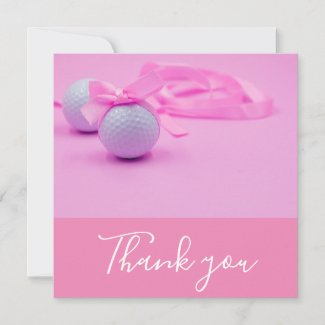 Golf ball with pink ribbon on pink Thank you