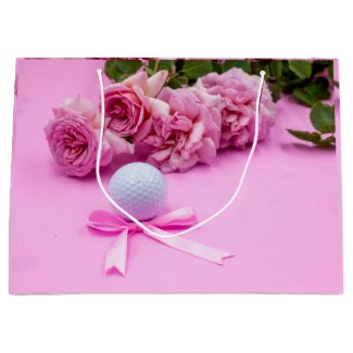 Golf ball with pink roses on pink background large gift bag
