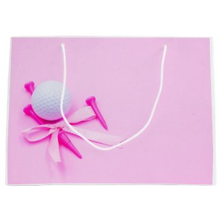 Golf ball with pink tee on pink background large gift bag