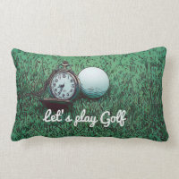 Golf ball with pocket watch on green grass lumbar pillow