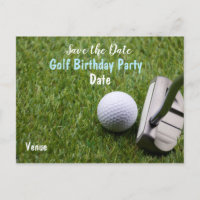 Golf ball with putter are on green grass announcement postcard