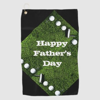 Golf ball with Putter Happy Father's day Golf Towel