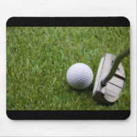 Golf ball with putter on green grass golf mouse pad