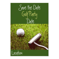 Golf ball with putter on green grass invitation