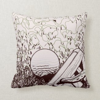 Golf ball with putter throw pillow