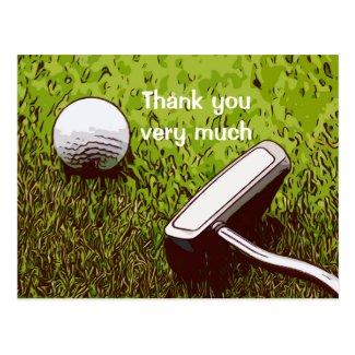 Golf ball with putter watercolor  thank you postcard