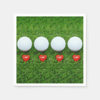 Golf ball with red heart on green with love Paper Napkin