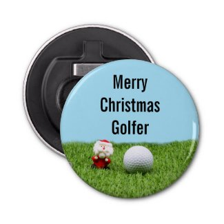 Golf ball with Santa Claus for Golfer Christmas Bottle Opener