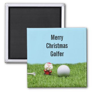 Golf ball with Santa Claus for Golfer Christmas Magnet