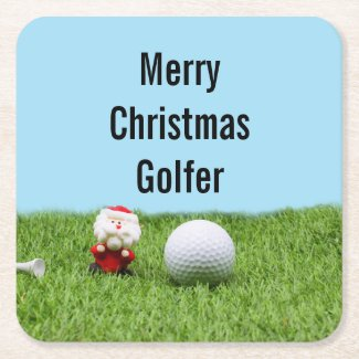 Golf ball with Santa Claus for Golfer Christmas Square Paper Coaster