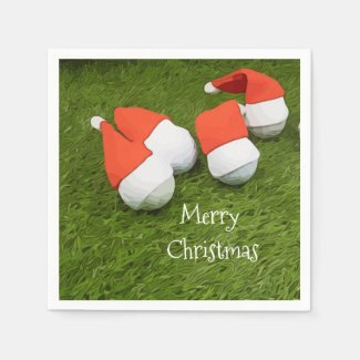 Golf ball with Santa hat for Christmas Napkins