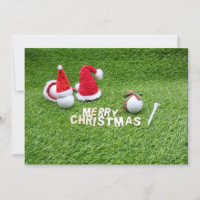 Golf ball with Santa hat for golfer on Christmas Card