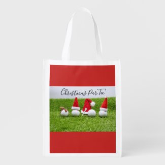 Golf ball with Santa Hat on green grass golfer Grocery Bag