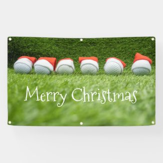Golf ball with Santa Hats Christmas for golfer Banner