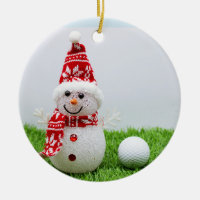 Golf ball with Snowman are for Golfer's Christmas Ceramic Ornament