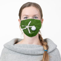Golf ball with star fish on green grass cloth face mask