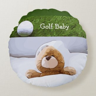 Golf ball with teddy bear in bed for baby baby round pillow