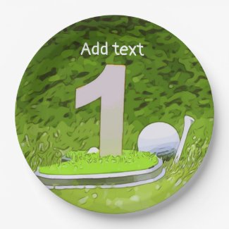 Golf ball with tee 1st birthday anniversary golfer paper plate