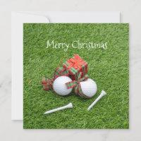 Golf ball with tee and gift for golfer Christmas