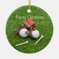 Golf ball with tee and gift for golfer Christmas Ceramic Ornament