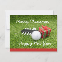 Golf ball with tee and gifts for golfer Christmas Card