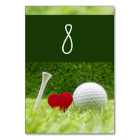 Golf ball with tee and love shape to golfer table number