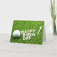 Golf ball with Tee and Marker Birthday Card