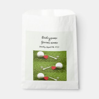 Golf ball with tee and red heart on green wedding favor bag