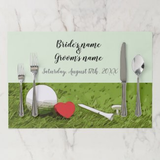 Golf ball with tee and red heart on green wedding paper placemat