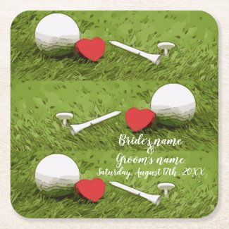 Golf ball with tee and red heart on green wedding square paper coaster