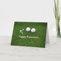 Golf ball with tee are on green grass retirement card