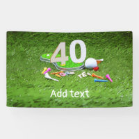 Golf ball with tee for 40th years birthday banner