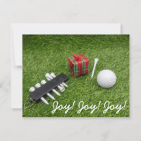 Golf ball with tee for golfer 's Christmas Holiday Card