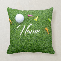 Golf ball with tee for personalise your name throw pillow