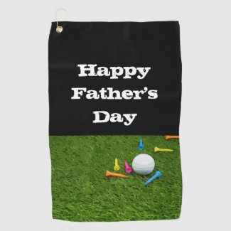 Golf ball with tee Happy Father's day Golf Towel