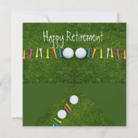 Golf ball with tee Happy Retirement Card