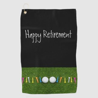 Golf ball with tee on green  Happy Retirement Golf Towel