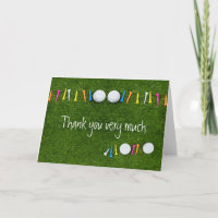 Golf ball with tee Thank you card