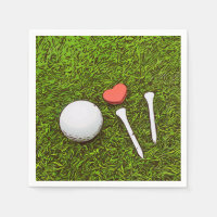 Golf ball with tees are on green with love Paper Napkin