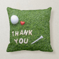 Golf ball with Thank you with love & tee on green Throw Pillow