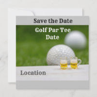 Golf ball with two glasses of beer golf par tee