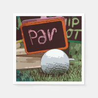 Golf ball with word PAR Napkin for golfer