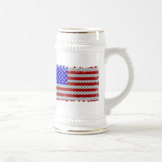 Golf Balls American Flag Distressed Border Stein