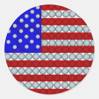 Golf Balls American Flag Round Stickers